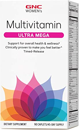 GNC Women's Ultra Mega Multivitamin, 90 Caplets, Supports Overall Health and Wellness in Women