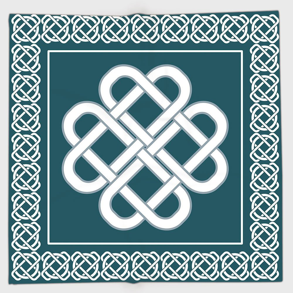 Cotton Microfiber Hand Towel,Irish,Celtic Love Knot Symbol of Good Fortune Framework Border Historical Amulet Design Decorative,Blue and White,for Kids, Teens, and Adults,One Side Printing