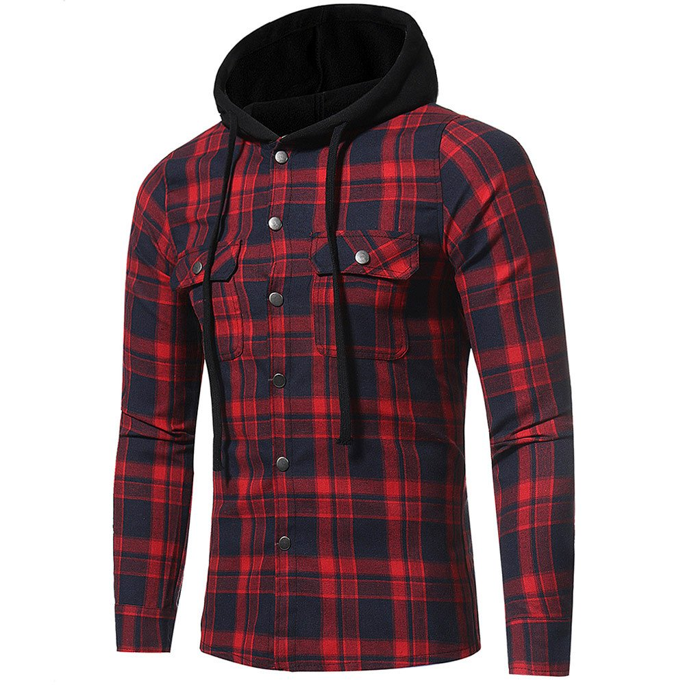 Sweat à Capuche pour Hommes Casual Chemise à Carreaux et Manches Longues Coton Mode Tops Manadlian