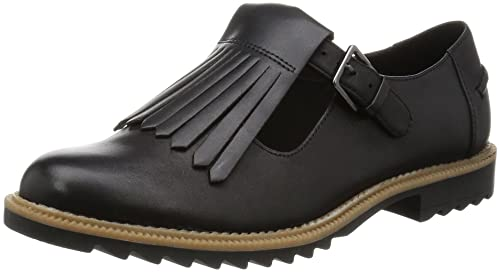 fccc8094fd41 Clarks Griffin Mia Wide Fit - Black Leather Womens Shoes 7 US ...