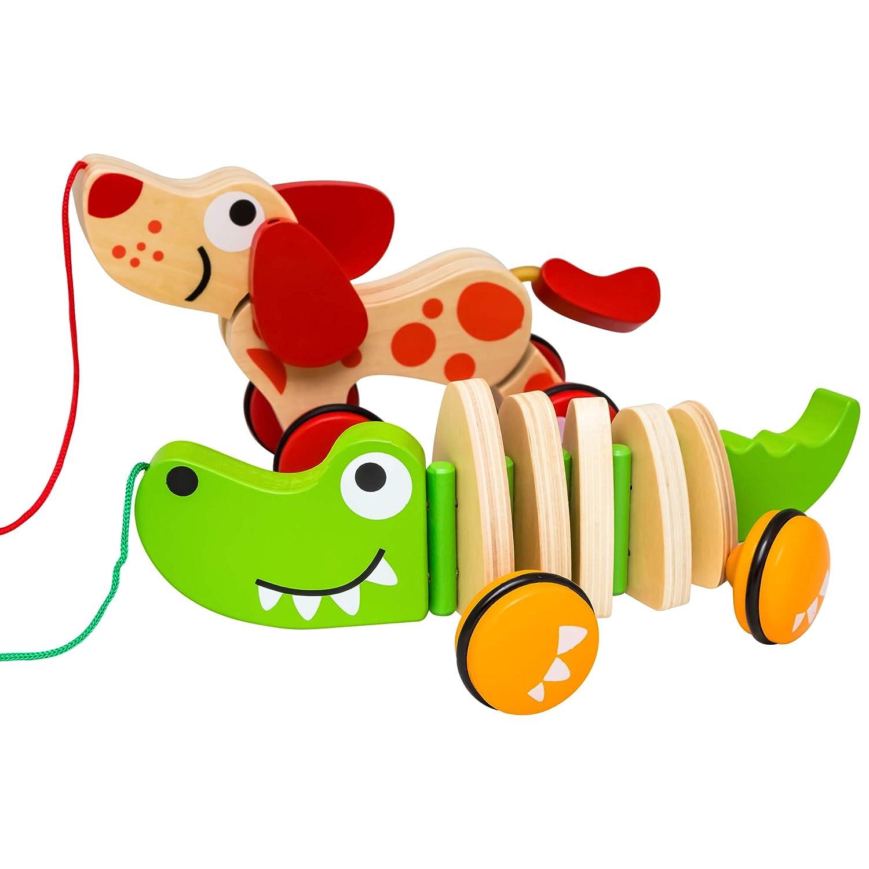 Natureich Dackel Holztier Nachziehtier Hund f/ür Kinder ab 36 Monate Dackel Nachziehspielzeug aus Holz
