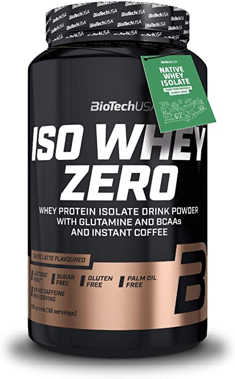BioTechUSA Iso Whey ZERO, Lactose, Gluten, Sugar FREE, Whey Protein Isolate, 908 g, Caffé Latte