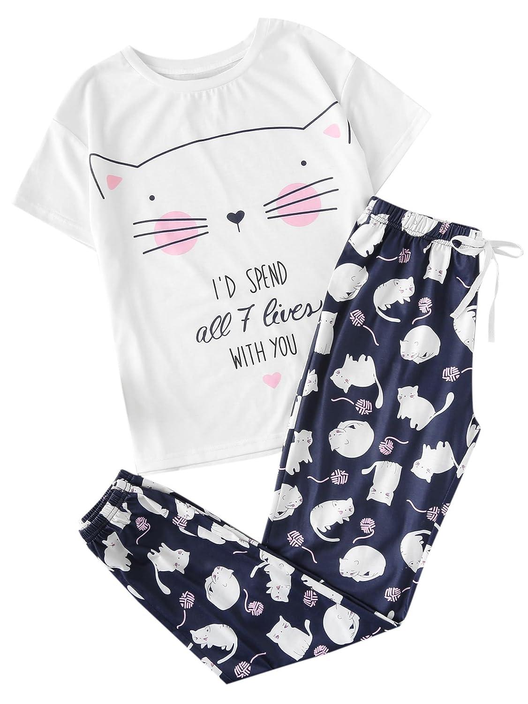 SOLY HUX Conjunto de Pijamas con Estampado de Gato para Mujer-L ...