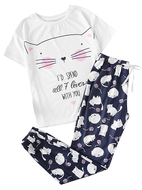 SOLY HUX Conjunto de Pijamas con Estampado de Gato para ...