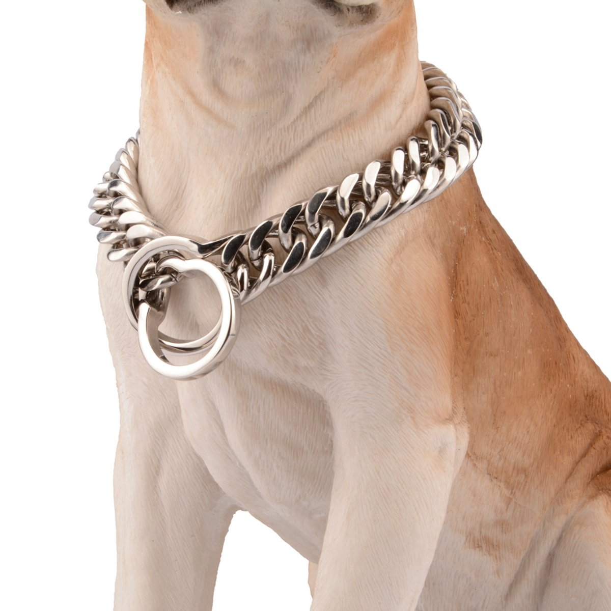 30inch recommend dog's neck 26inch Bestss Jewelry 16 18mm Silver Tone Double Curb Chain Stainless Steel Choker Strong Dog Pet Collar,14-36 Inches (16mm Wide, 30inch Recommend Dog's Neck 26inch)