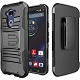 Droid Turbo Case, ATUS® Motorola Droid Turbo XT1254(Fits Ballistic Nylon Version) Armor Shock Proof Heavy Duty Stand Cases with Swivel Belt Clip Cover + Free Premium Screen Protector and Ultra-sensitive Stylus Pen (Black/Black)
