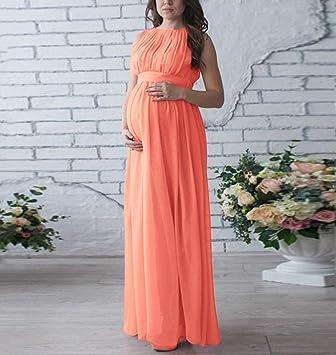 swall owuk Mujer Embarazada Elegante sin Mangas Vestido Largo Embarazada Madres Fotografía Vestido Ropa Fijo Lich