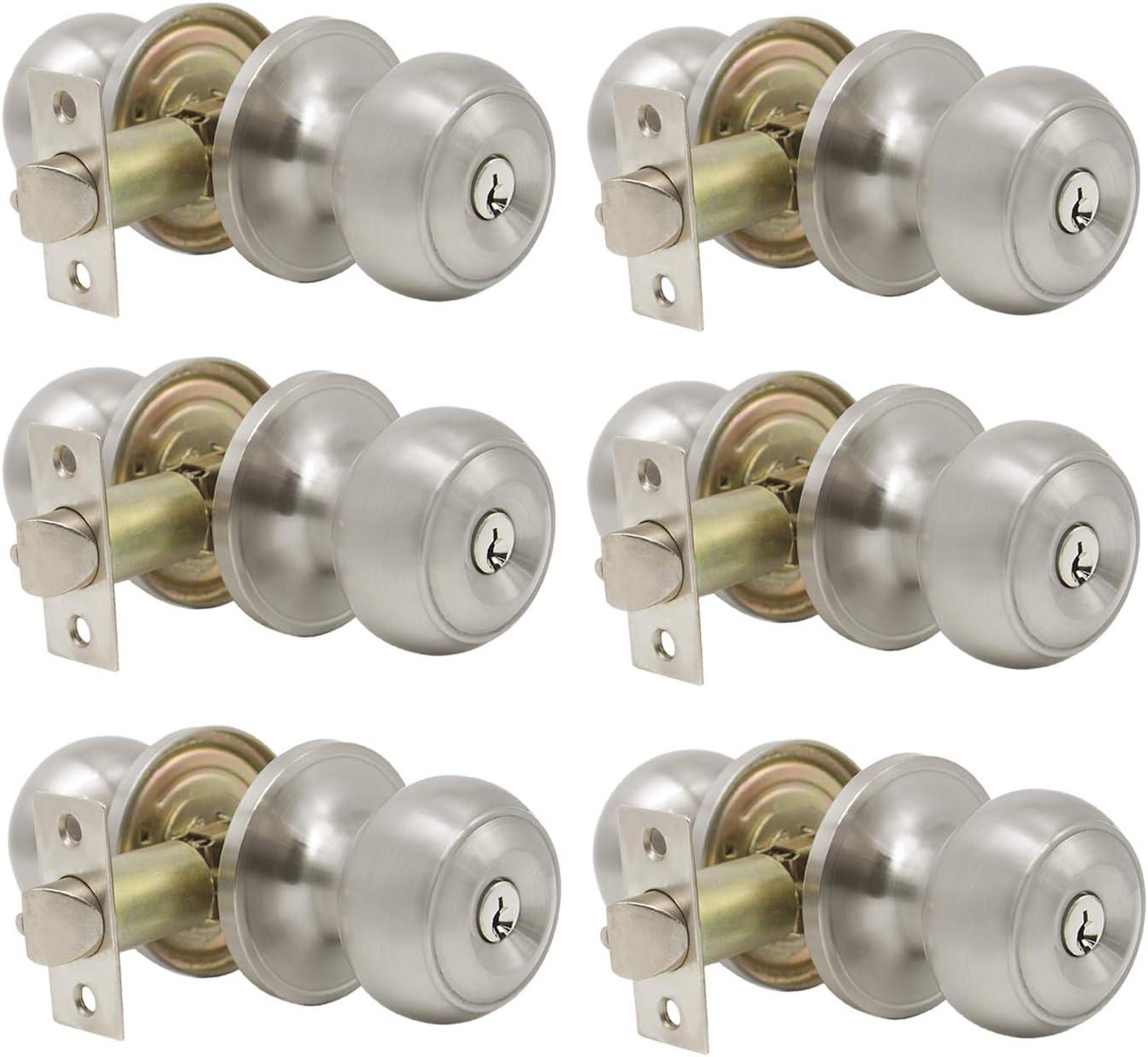 pomos de puerta de acero s/ólido Pomos de puerta de n/íquel satinado manija de seguridad interior para trastero ba/ño 607 dormitorio