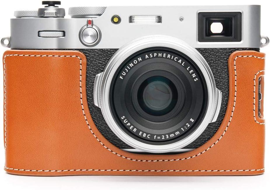 Fujifilm X100V Camera Case, BolinUS Handmade Genuine Real Leather Half Camera Case Bag Cover for Fujifilm Fuji X100V Camera Bottom Opening Version + Hand Strap (Yellow)