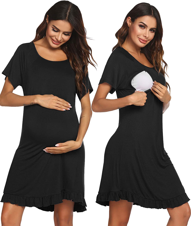 Ekouaer Maternity Nightgown Button Down Short Sleeve Labor Delivery Gown Women Nursing Sleepwear Nightdress
