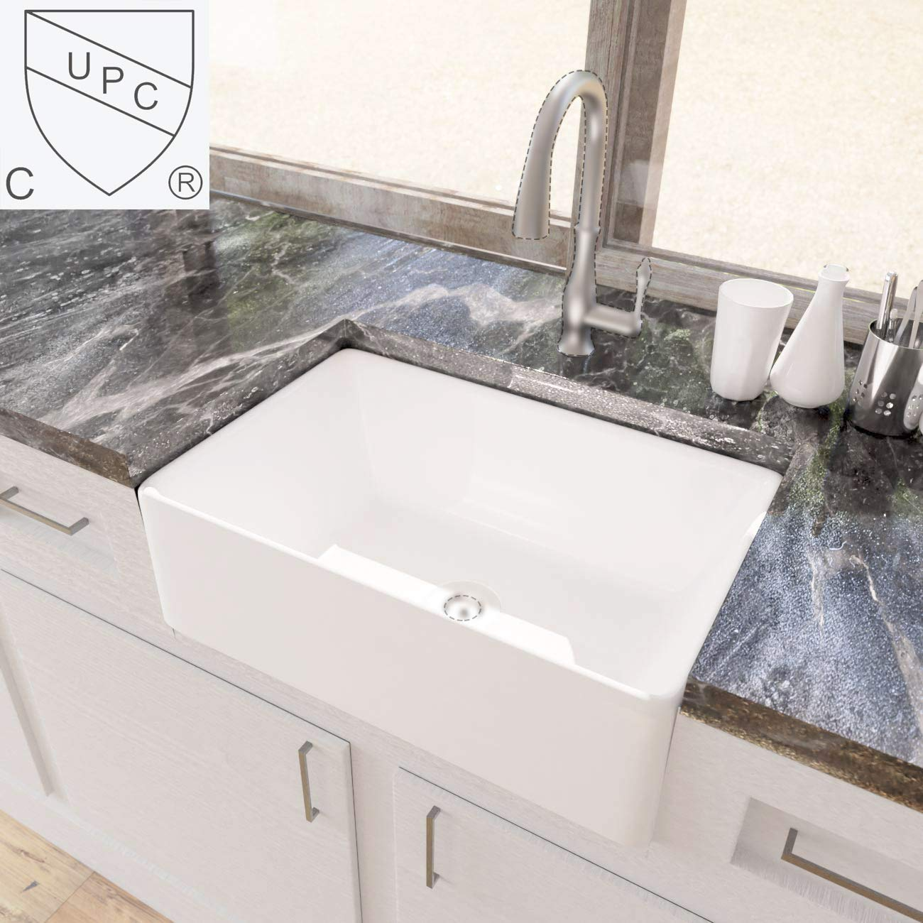 KES cUPC Fireclay Sink Farmhouse Kitchen Sink (30 Inch Porcelain Undermount Rectangular White) BVS117 by Kes (Image #1)