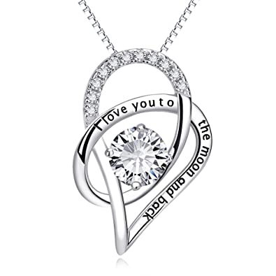 HUABOLA CALYN Necklace 925 Sterling Silver Zirconia Pendant 'I Love You to the Moon and Back xv0mcu