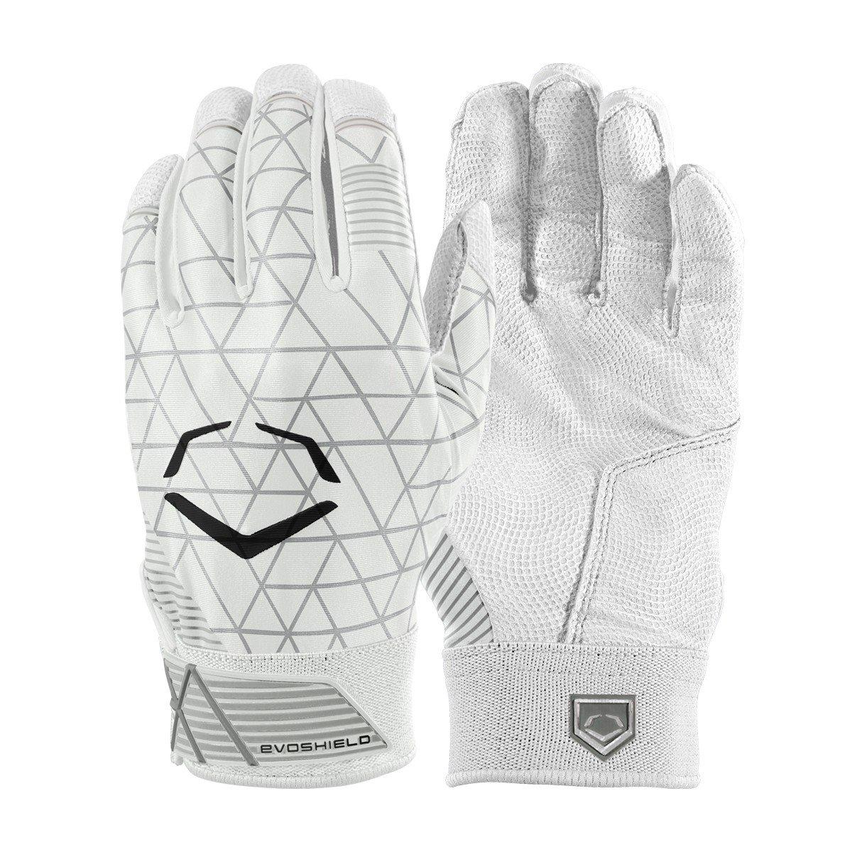 Evoshield evocharge保護用バッティング手袋 B0741JS3RM Large|ホワイト|ユース ホワイト Large