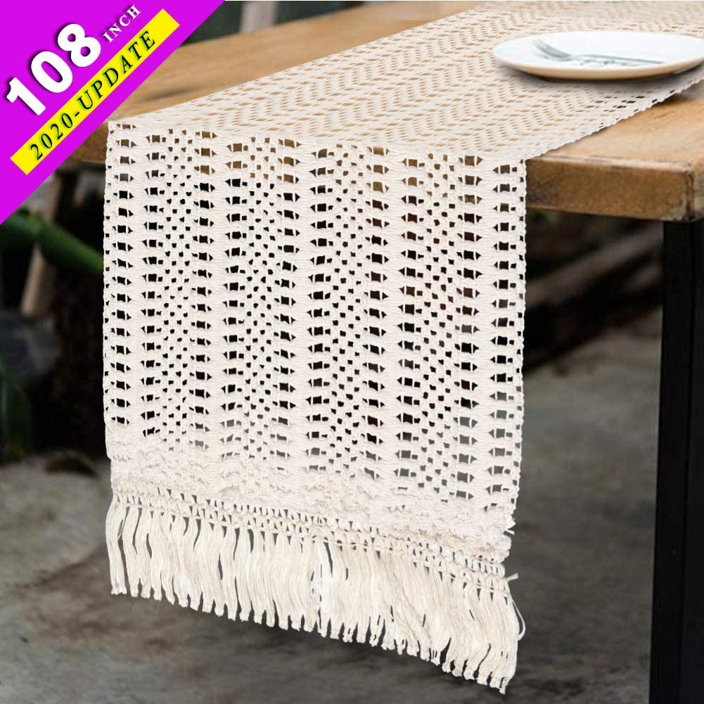 AerWo Macrame Table Runner 108 Inches Boho Woven Cotton Crochet Lace Farmhouse Moroccan Woven Table Runner with Tassels for Bohemian, Dinner Rustic Table Top Bridal Shower, Wedding Table Decorations