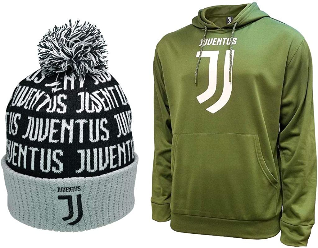 Icon Sports Compatible with Juventus Soccer Hoodie and Beanie Combo 11-M