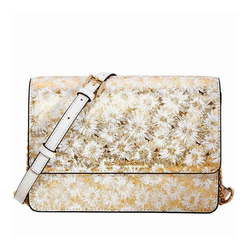 e5dd694bd2 Michael Kors Large Metallic Floral Crossbody Bag - Opt Gold  Handbags   Amazon.com