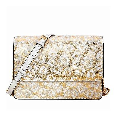 3ea0dfa32b5e4 Michael Kors Large Metallic Floral Crossbody Bag - Opt Gold  Handbags   Amazon.com