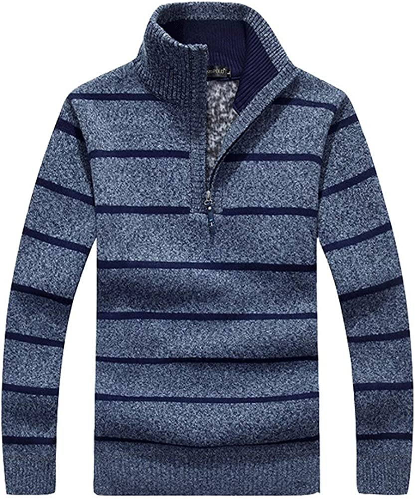 HIENAJ Mens Half Zip Up Polo Sweaters Mock Neck Long Sleeve Knitted Pullover Sweater