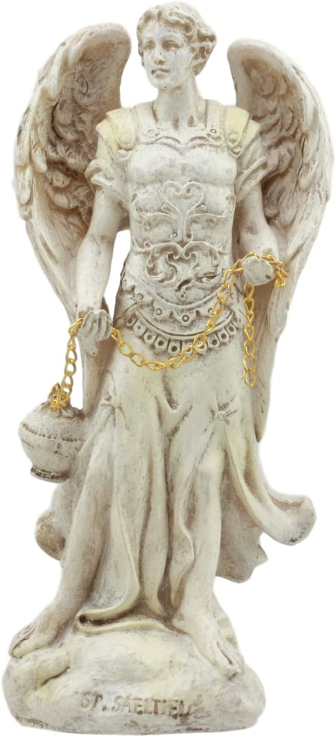 Amazon Com Ebros Ivory Colored Holy Archangel Saint Sealtiel Carrying Golden Censer Statue 5 Tall Selaphiel Prayer Of God Worship And Intercession Collectible Figurine Home Kitchen