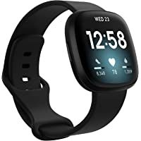 TERSELY Band Strap for Fitbit Versa 3 / Sense, Classic Soft TPU Replacement Silicone Sports Adjustable Bands Fitness…