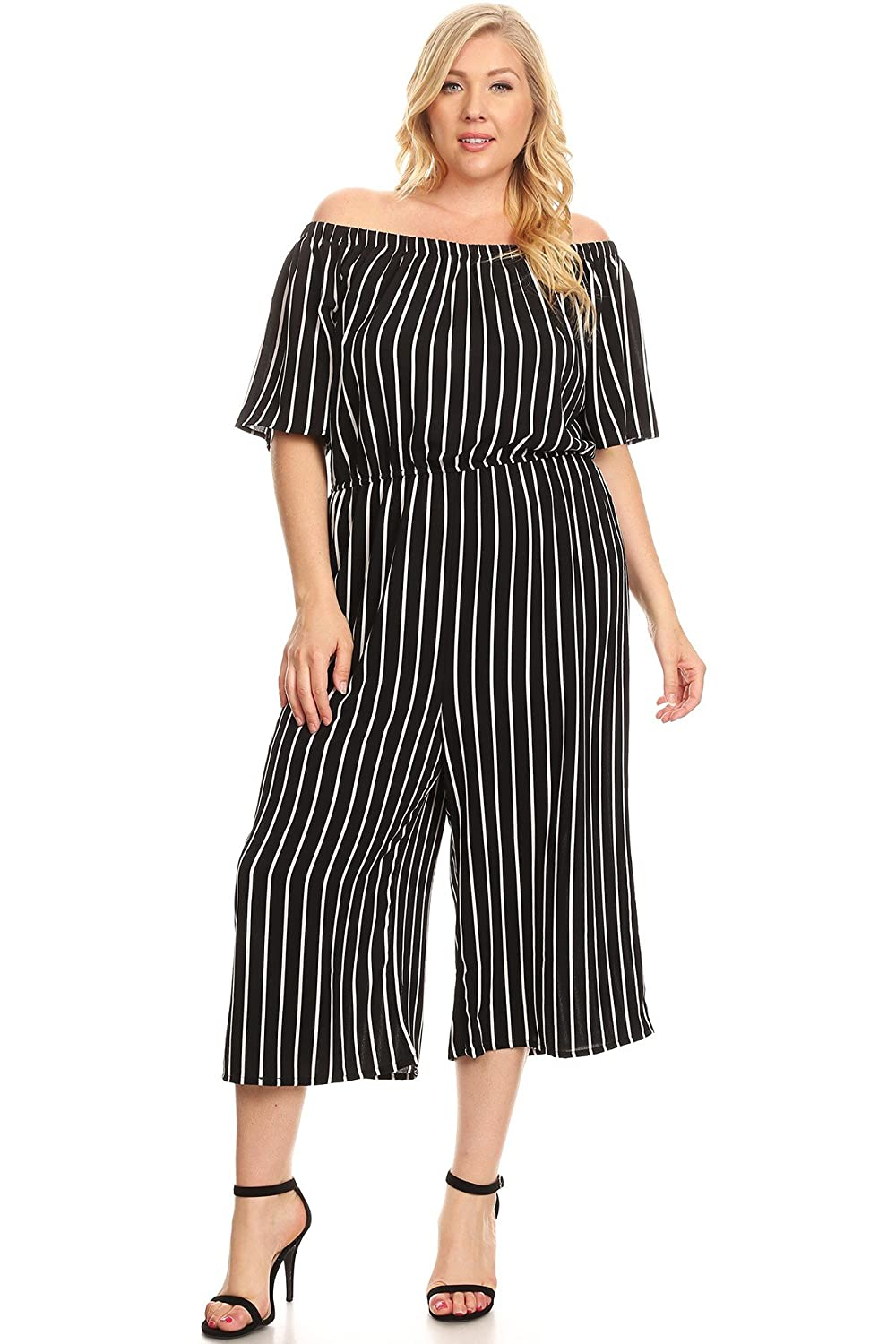 06a39f839900 Striped plus size culotte jumpsuit with an off the shoulder neckline