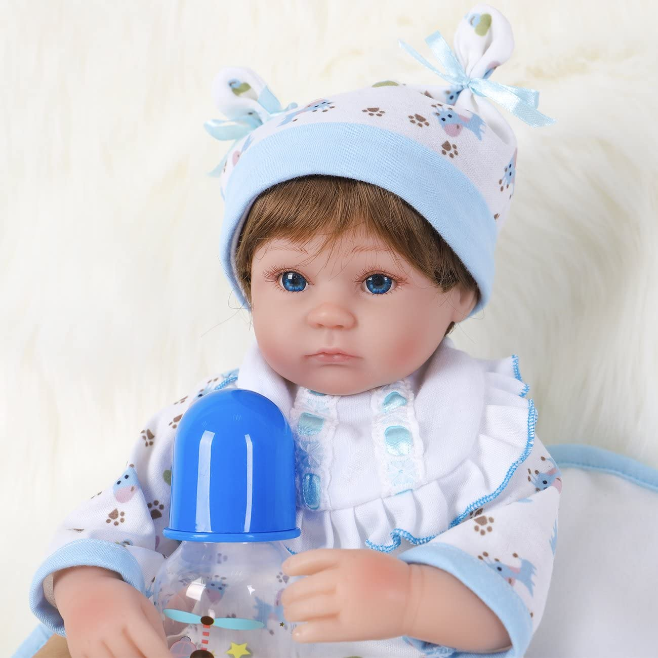 ENA Reborn Baby Doll Weighted Soft Body Silicone Vinyl Baby Boy 16 inch Realistic Lifelike Doll Gift Set for Ages