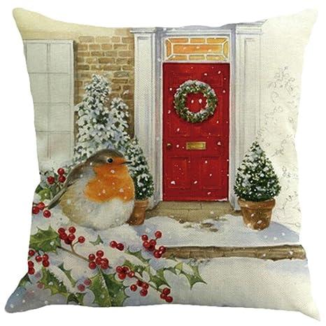 Fundas De Cojines, XINANTIME Navidad Sofá de lino de algodón Cojín de cintura para el hogar 45 x 45 cm (C)