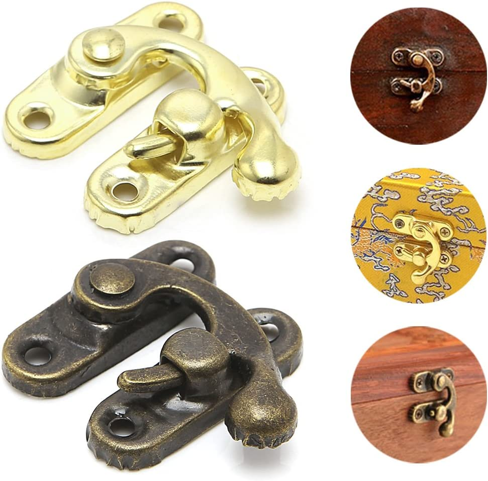 JUNESUN 10x Antique Metal Catch Curved Buckle Horn Lock Clasp Hook Jewelry Box Regalo Lucchetto