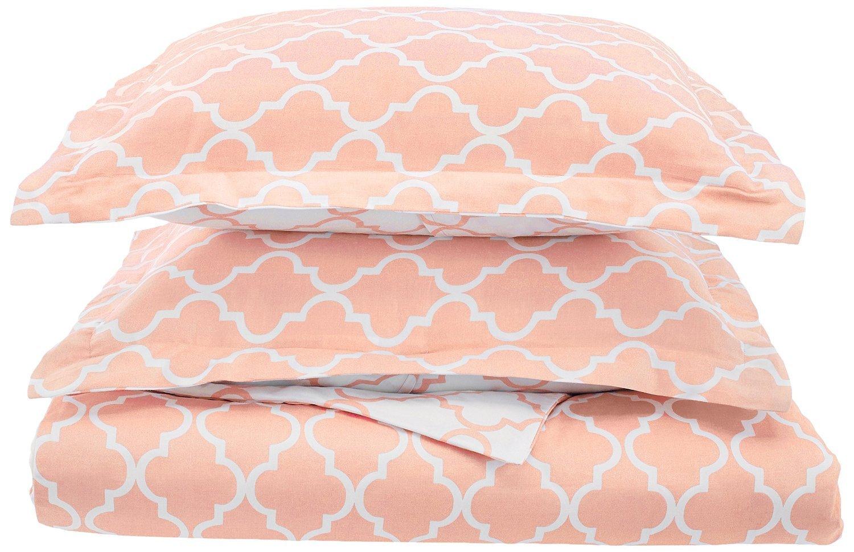 Trellis 100% Cotton, 300 Thread Count Reversible 3 Piece Full/Queen Duvet Cover Set, Coral