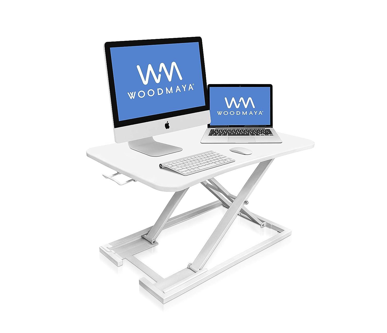 WOODMAYA® Height Adjustable Standing Desk with Premium Air Pump Lift - Desk Stand Raiser - Instantly Convert to a Sit to Stand Desk 29x19(White WMDKR-0005-W