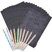 UniquQ 100 vellen koolpapier, A4 grafietpapier transferpapier, koolstofpapier pauspapier en 10 reliëfstiften, voor hout…