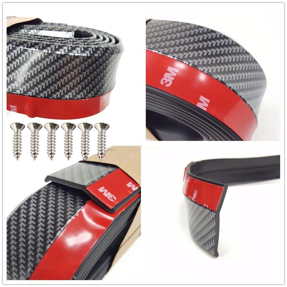 QIKE Universal Front Bumper Spoiler Carbon Fiber Style Bumper Lip Splitter Chin Spoiler Body Kit Trim 3M Black