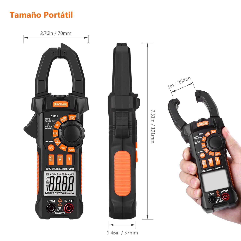 Multimetro digital,Tacklife CM05 Pinza Aperimetrica 6000 Counts/TRMS,VFC para medir Voltaje de frecuencia variable,rango de CA 6A-600A,Voltaje de ...