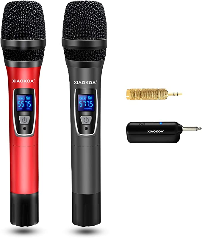 Amazon.com: Wireless Microphones,Dual UHF Karaoke Wireless Microphone System with Rechargeable Receiver for Party, Meeting,Church,Wedding,260ft Range: Musical Instruments