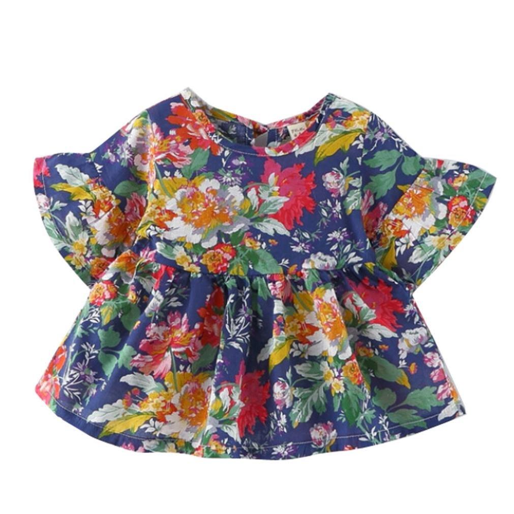 Summer Girl Short Sleeve Flower Ruffles Print Princess Dress DEESEE TM