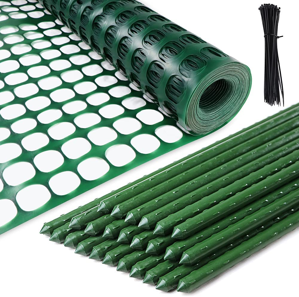 ZNCMRR Garden Fence Plastic Kit with Stakes and Zip Ties - 4x100 Feet Fence & 25, 4 Feet Stakes, Mesh Temporary Snow Fencing, Safety Heavy Netting, for Gardening, Poultry, Deer, Swimming Pool