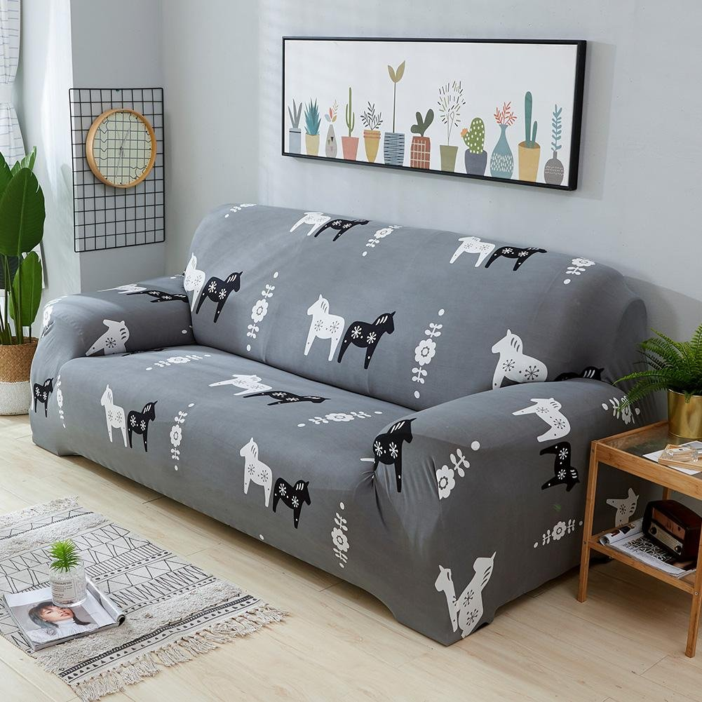 Matefield Elastic Sofa Tight Wrap Animal All-inclusive Slipcovers Cover(Horse/2-Seat) by Matefield (Image #3)