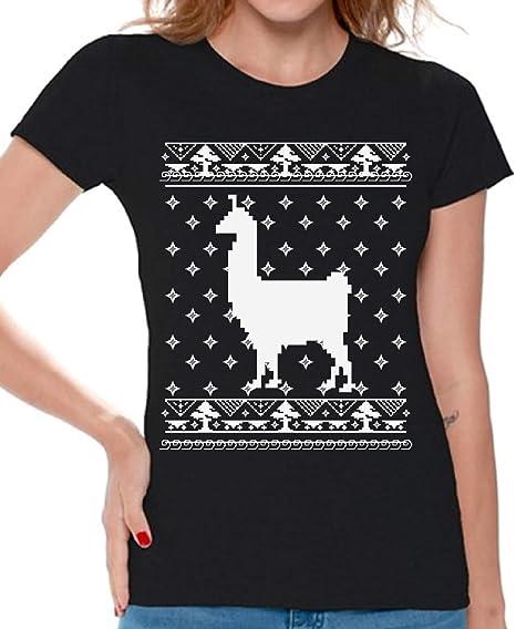 b50d2b2315502 Awkward Styles Llama Christmas Tshirt for Women Llama Ugly Christmas T Shirt  Black S
