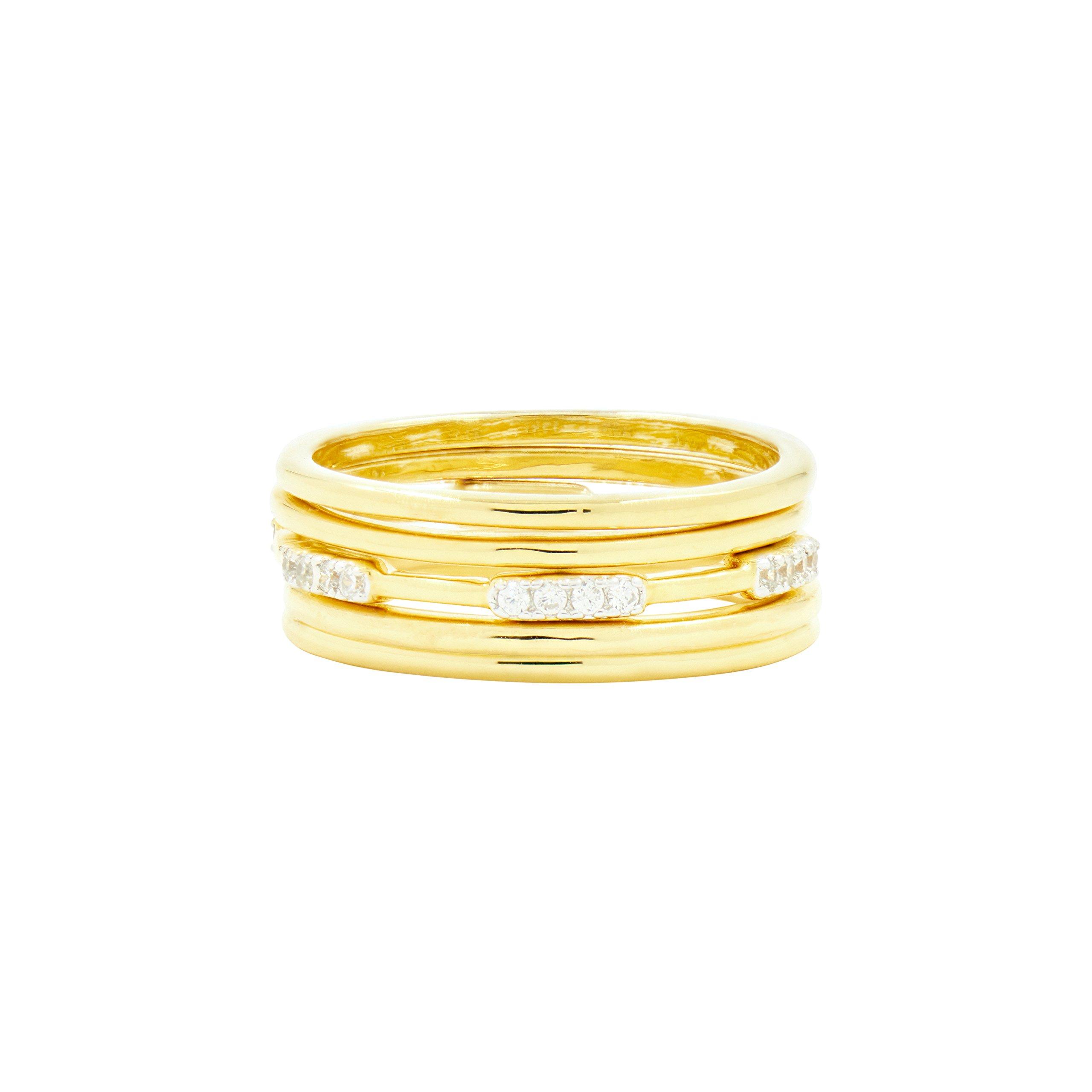 Freida Rothman Women's Radiance 5-Stack Ring, Silver/Gold, 8
