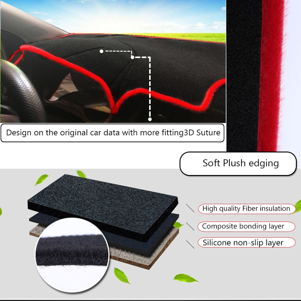 GTINTHEBOX Custom Fit Dashboard Black Center Console Cover Dash Mat Protector Sunshield Cover Pad for 2018 Toyota Camry DM-014B