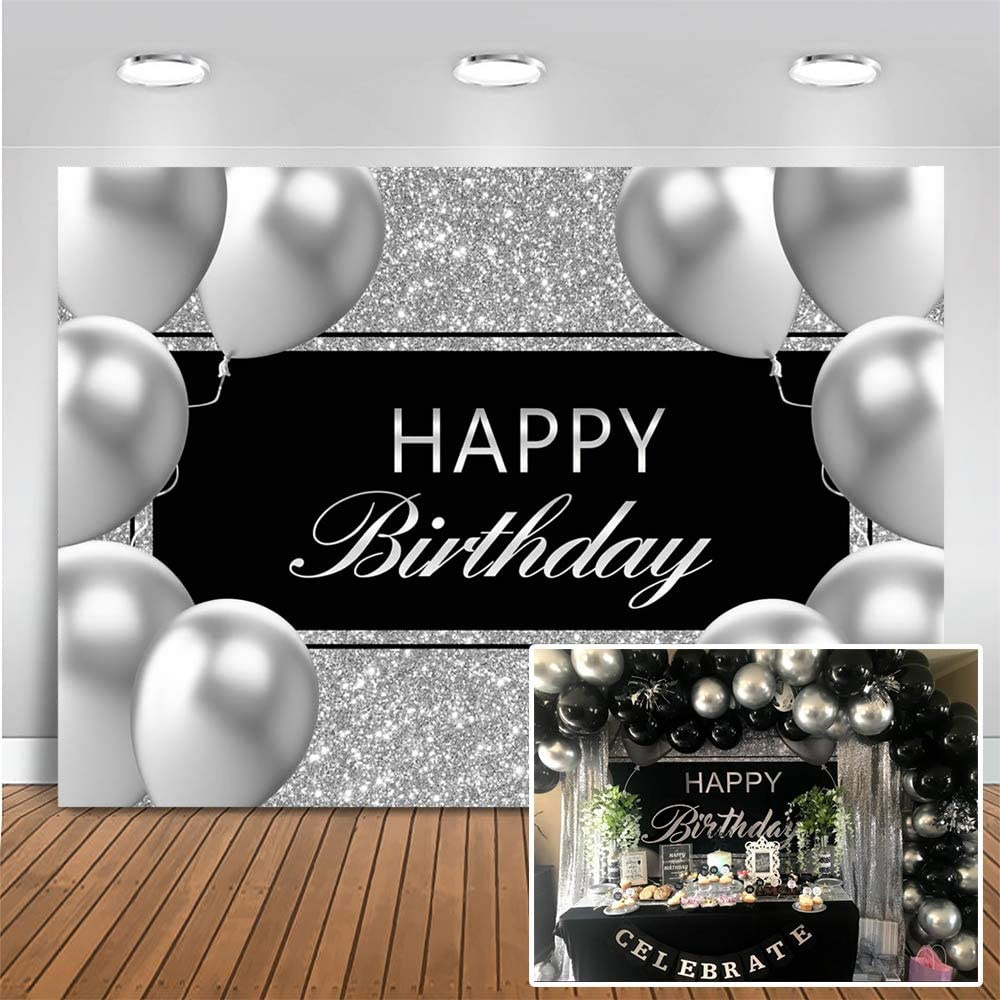 Mocsicka Silver Happy Birthday Backdrop Silver and Black Birthday Party Decor Banner Silver Grey Metal Texture Balloon Background for Kids Adults Birthday (7x5ft (82x60 inch))