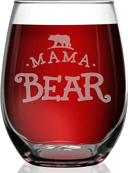 Mama Bear Engraved Stemless Wine Glass Mothers Day Gift for Her 17 0z