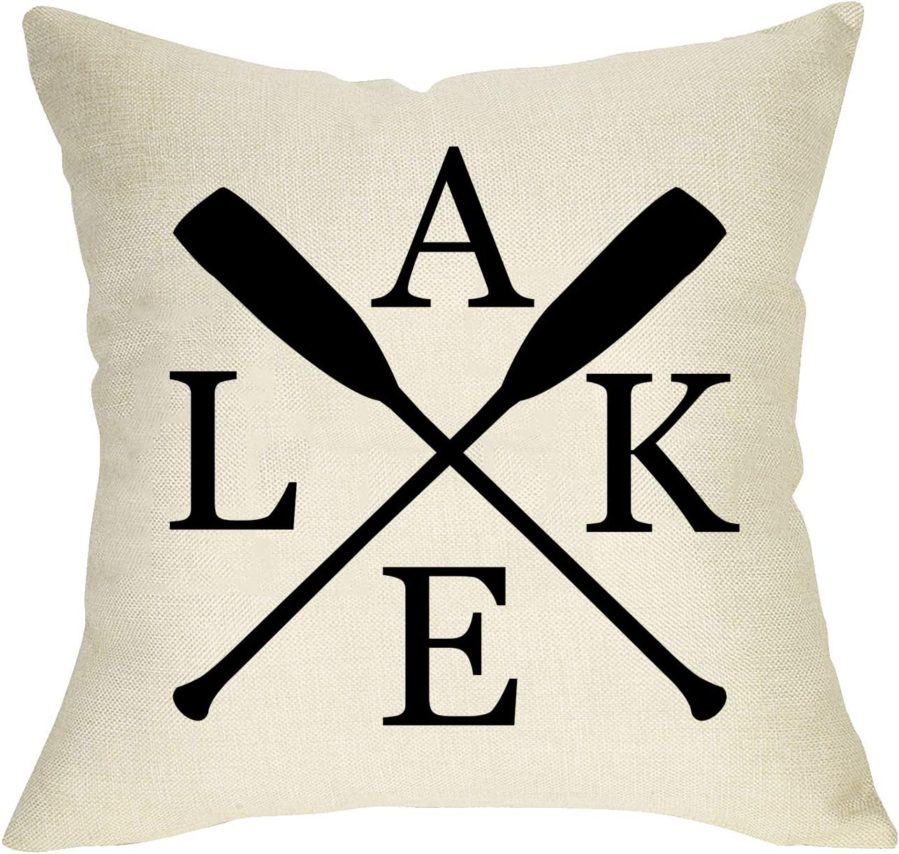 Softxpp Home Decorative Throw Pillow Cover Lake with Paddle, Rustic Farmhouse Cushion Case Spring Summer Home Square Pillowcase Decor for Sofa Couch Decoration 18 x 18 Inch Cotton Linen