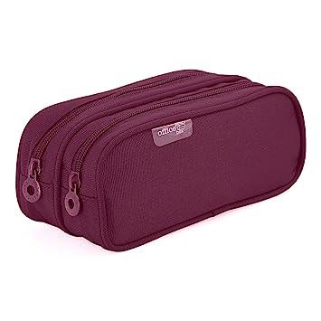Colorline 59811 - Portatodo Doble, Estuche Multiuso para Viaje, Material Escolar, Neceser y Accesorios. Color Morado, Medidas 21 x 9 x 5.5 cm