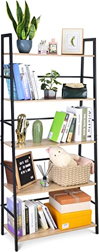 SpringSun 5-Tier Simple Industrial Bookshelf Wood Bookcase and Display Shelf Furniture