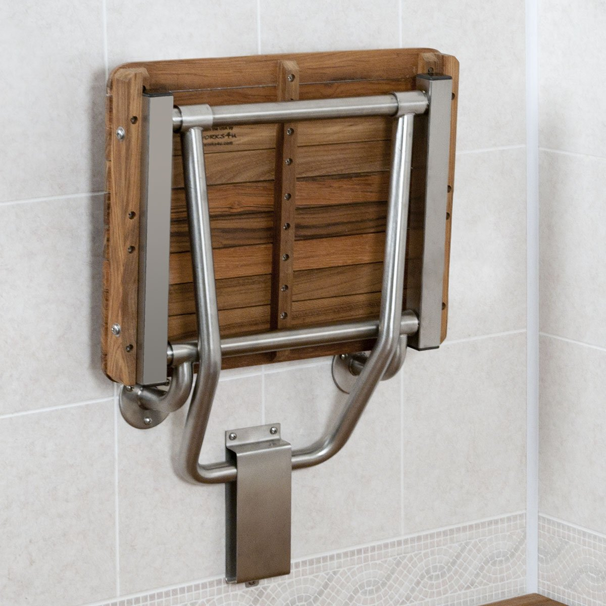 Amazon.com: Teak ADA Wall Mounted Shower Bench/Seat (18\