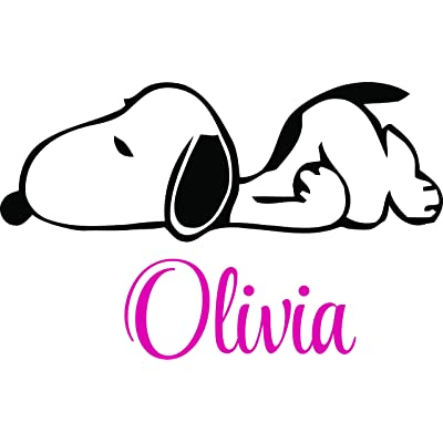 Personalized Name Vinyl Decal Sticker Custom Initial Wall Art Personalization Decor Personalization Snoopy The Dog Kids Cartoon Baby Nursery Children Bedroom 16 Inches X 22 Inches: Baby