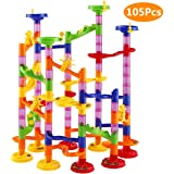 Elover Marble Run Toys 105 PCS Marble Run Coaster Railway Construction Child Building Blocks DIY Toys Games for Boys Girls Children over 3 Years Old