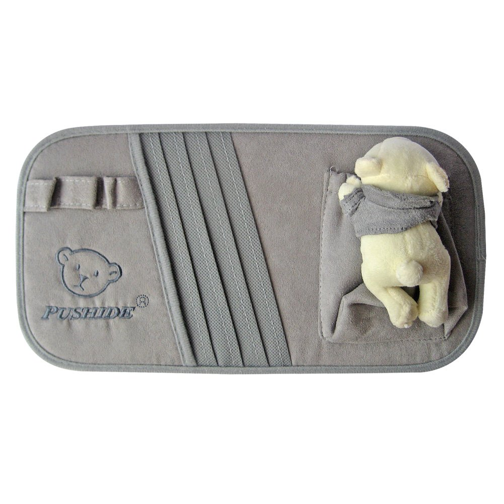 Tianmei Bear Doll Styling SunVisor CD Holder Car visor DVD Storage Organizer Bag (Faux Suede - Color Gray)