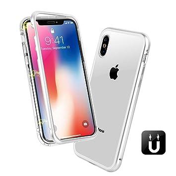64841c3531 Amazon | iPhone X ケース 透明な強化ガラスと360°金属フレーム 完全保護 ...
